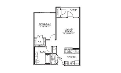 Agave - 1 bedroom floorplan layout with 1 bath and 713 square feet