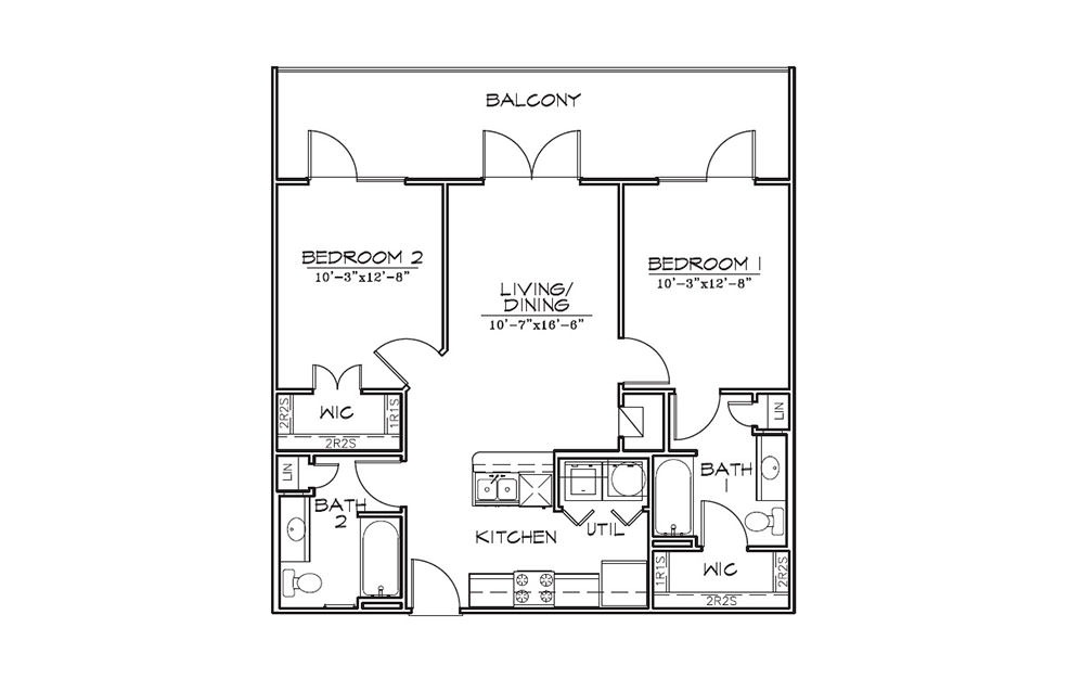 Honeysuckle - 2 bedroom floorplan layout with 2 bath and 868 square feet (1st floor 2D)
