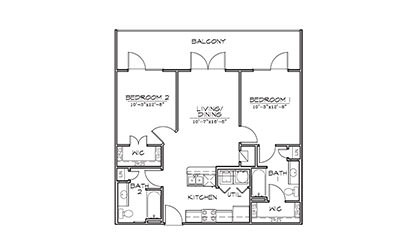 Honeysuckle - 2 bedroom floorplan layout with 2 bath and 868 square feet