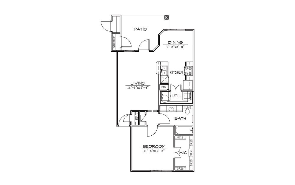 Sage - 1 bedroom floorplan layout with 1 bath and 740 square feet (1st floor 2D)