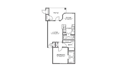 Sage - 1 bedroom floorplan layout with 1 bath and 740 square feet