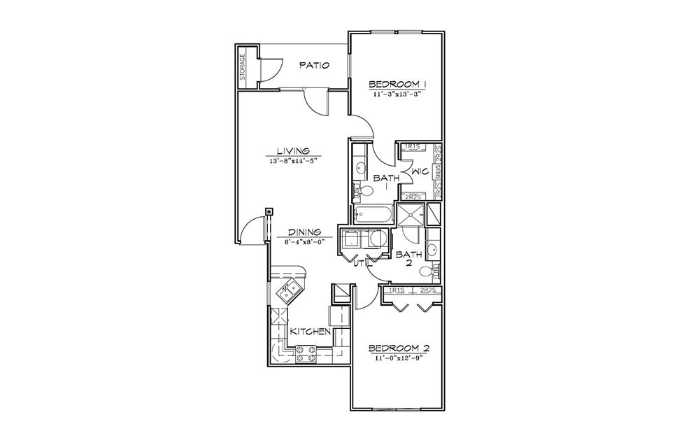Sumac - 2 bedroom floorplan layout with 2 bath and 982 square feet (1st floor 2D)