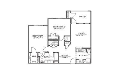 Wisteria - 2 bedroom floorplan layout with 1 bath and 951 square feet
